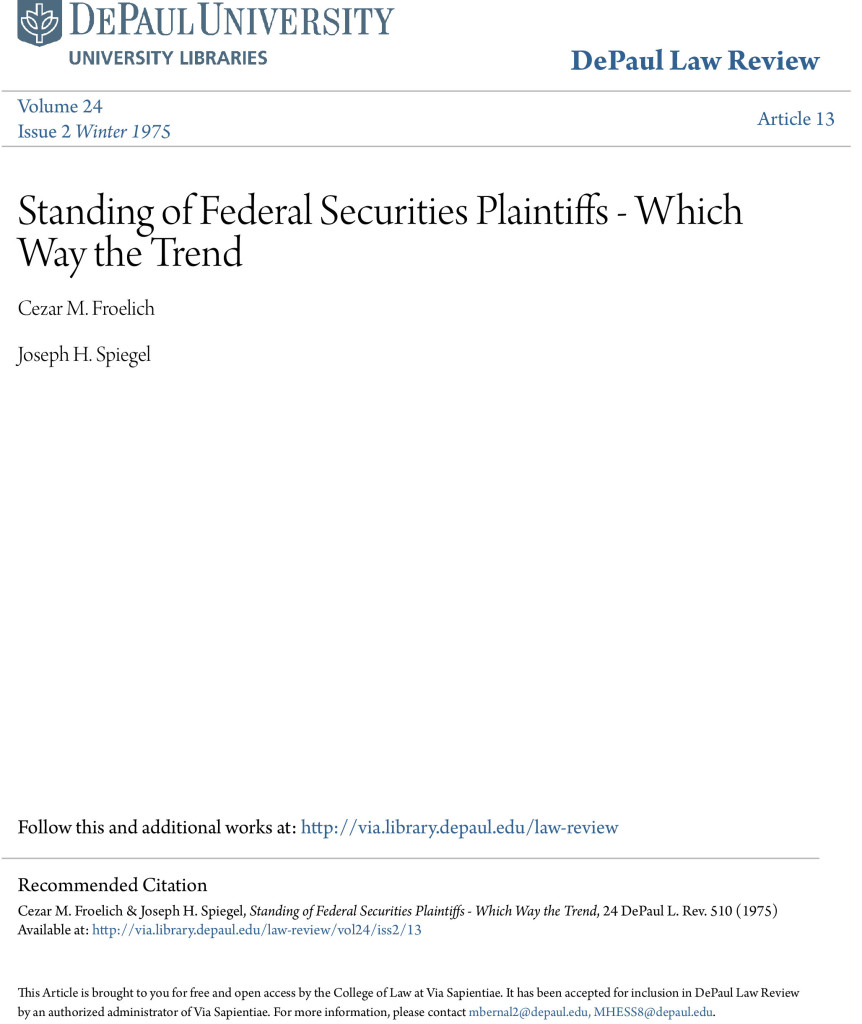 Standing-of-Federal-Securities-Plaintiffs---Which-Way-the-Trend-1